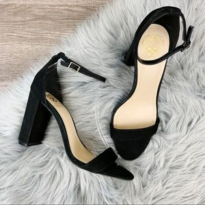 NWOT Vince Camuto Malissa Strappy Black Heel Suede
